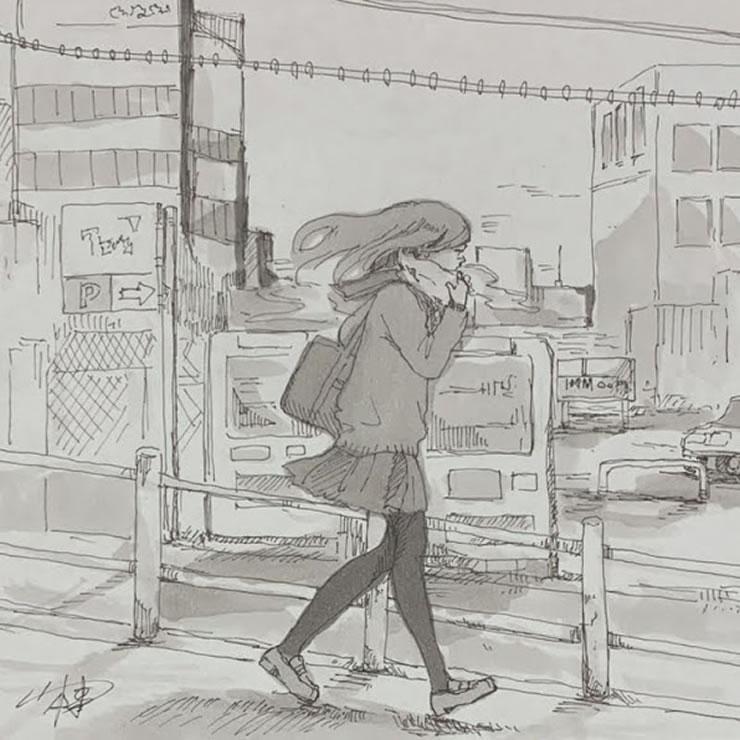 向かい風(山本棗)・イラスト文化祭2020