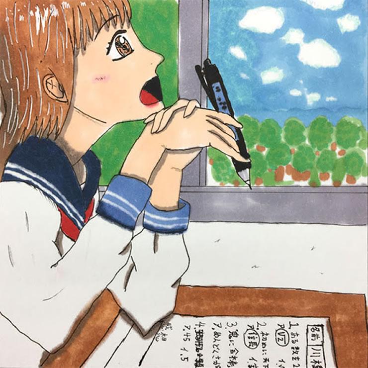 テストの答え、お悩み中(ミソ吉)・イラスト文化祭2020