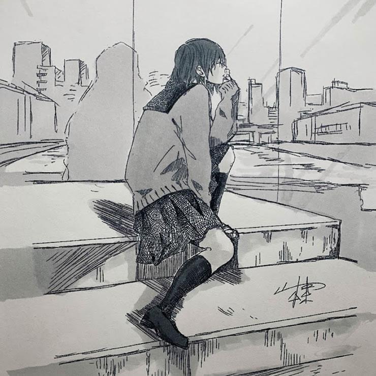 灰色の街(山本棗)・イラスト文化祭2020