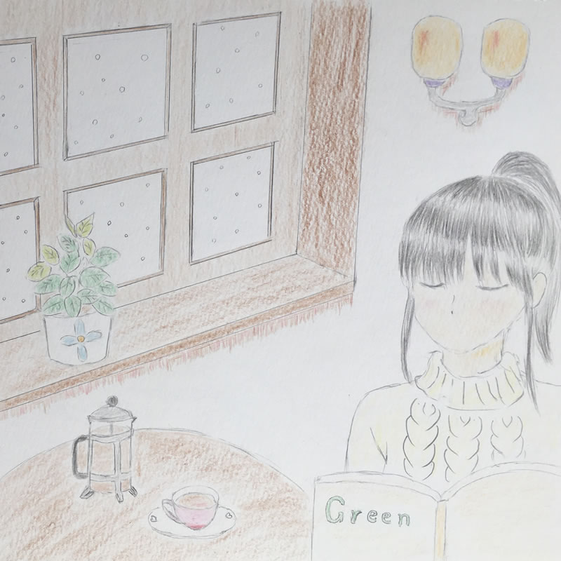 カフェで読書(芳花)・埼玉マンガカップのイラスト2021