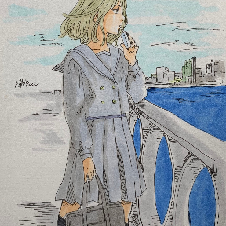港街の少女(山本棗)・イラスト文化祭2020