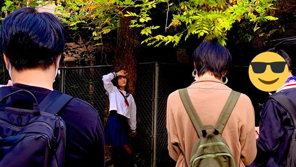 中崎の公園でお絵描き:大阪でセーラー服のデッサン会