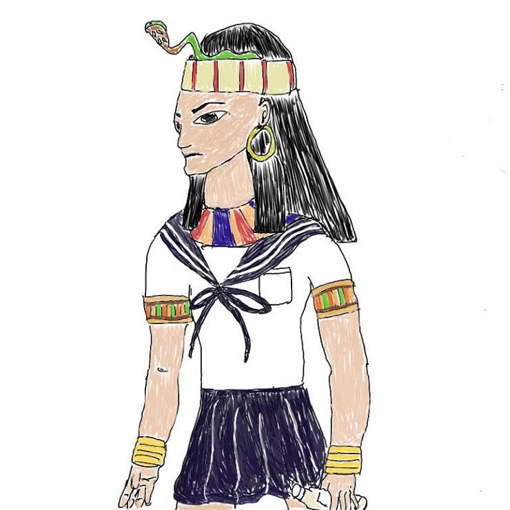 古代エジプトに高校があったら(村中)・イラスト文化祭2020