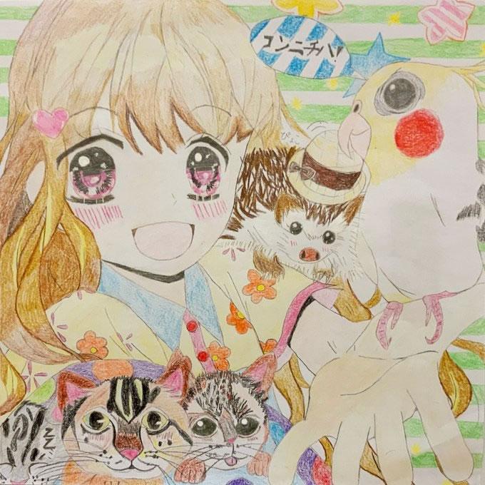 愛する動物たち(うずらのたまご)・埼玉マンガカップのイラスト2021