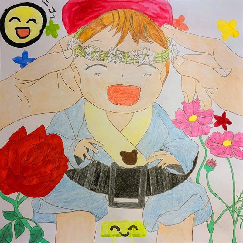 花にかこまれるベイビー(うずらのたまご)・埼玉マンガカップ(めばえ)のイラスト2021